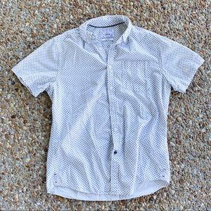 Cactus Man White Blue Button Down Short Sleeve Top
